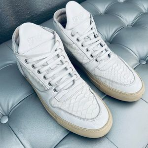 Filling Pieces White Snakeskin Low Top Sneakers